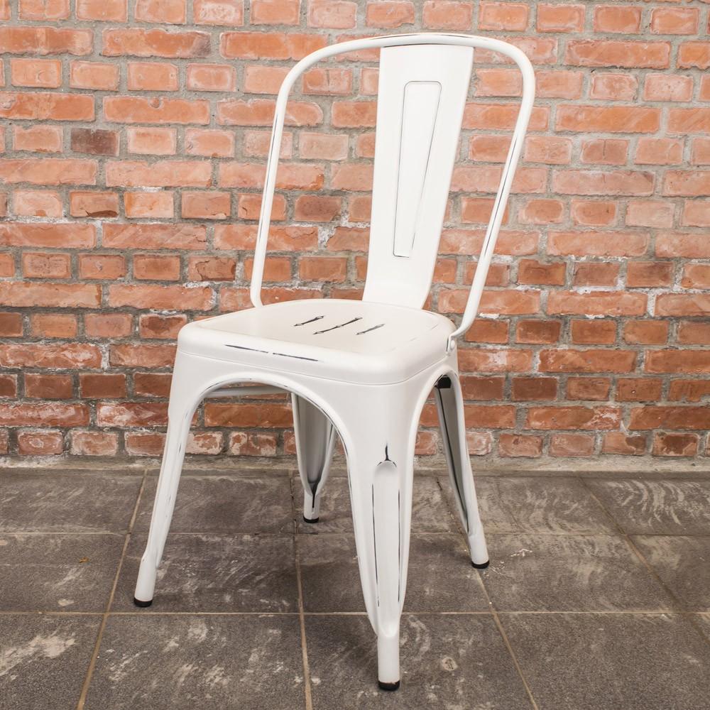 Boden-亞歷仿舊復刻工業風鐵椅/餐椅-白色