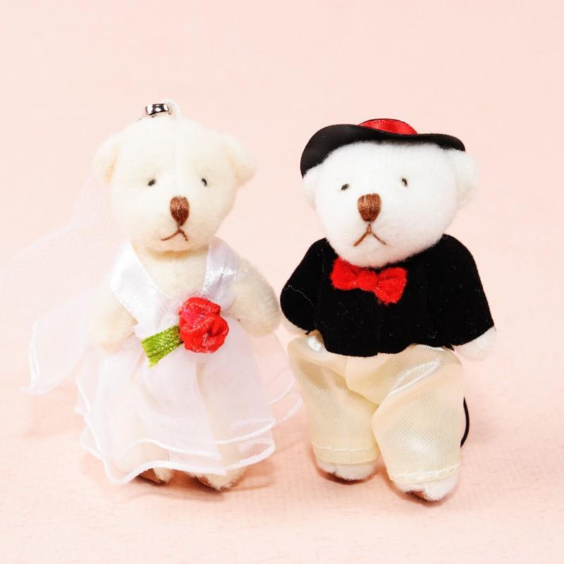 迷你婚紗小熊、晚禮服小熊 婚禮小物 附手機繩 小熊家族 泰迪熊專賣店
