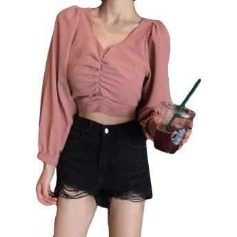 Ellteシャツ黒 レディース 可愛い ボリュームスリープ Vネックシャツ ファッションショート丈 白シャツ ブラウス 着やせ フェミニン ピンク