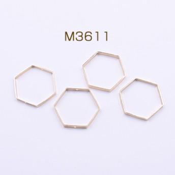 送料無料 20個 フレームパーツ 六角形 2穴 36×36mm ゴールド M3611