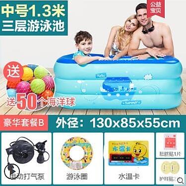 嬰兒游泳池 家用寶寶幼兒洗澡桶加厚保溫新生兒童小孩充氣戲水池ATF 伊衫風尚
