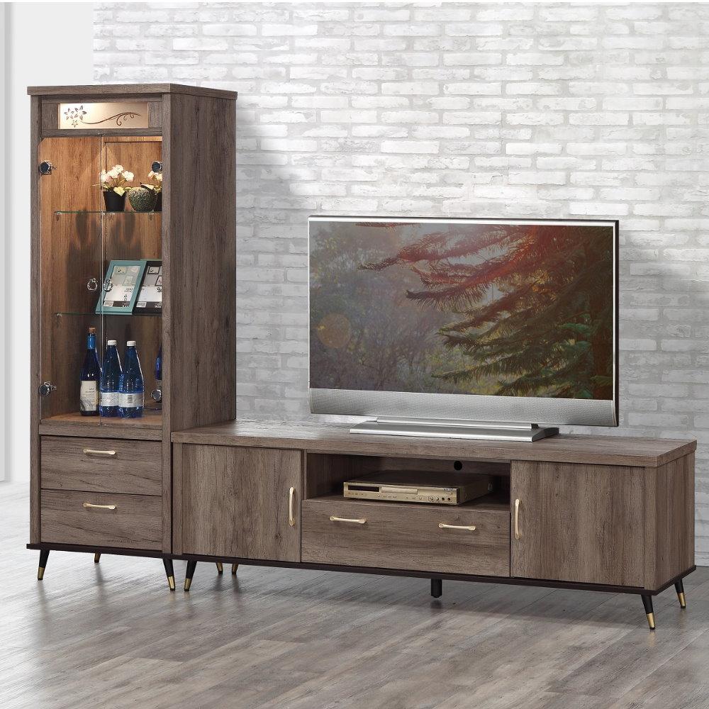 【MUNA】凱爾灰橡色8尺L櫃(展示櫃+6尺電視櫃)(贈沙發凳X1只)