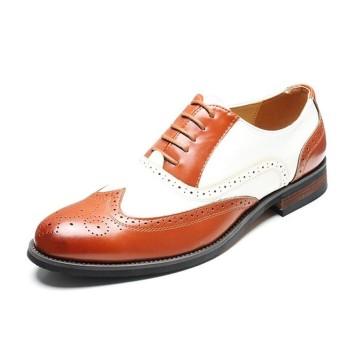 USPANDI 男性従来のドレスシューズレースアップマイクロファイバーレザーポイントトゥ翼端ブローグのためのビジネスオックスフォードモチ靴ひもツートーンアクセント分割継ぎ目カービング (Color : Yellow, Size : 38 EU)