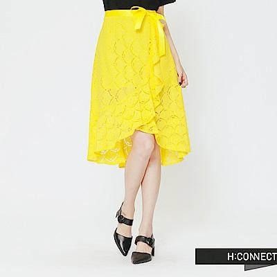 H:CONNECT 韓國品牌 女裝 -蕾絲綁帶不規則中長裙-黃(快)