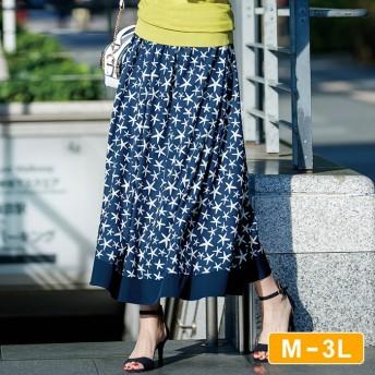 Ranan 【M~3L】プリント柄フレアースカート M レディース 5,000円(税抜)以上購入で送料無料 ロングスカート 春 レディースファッション アパレル 通販 大きいサイズ コーデ 安い おしゃれ お洒落 20代 30代 40代 50代 女性 スカート