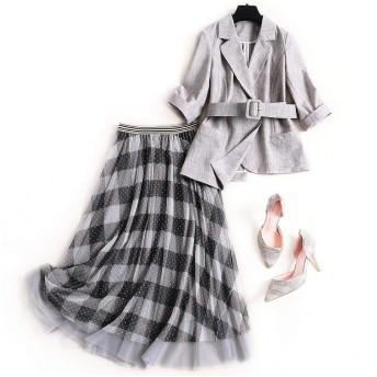 2020年春の女性ブレザースカートスーツレディースエレガントファッションベルト付きグレーブレザーとメッシュスカートセット2つの2ピースグレー-Gray-M