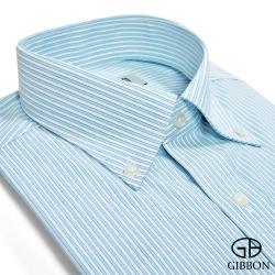 GIBBON 精選條紋修身長袖襯衫‧藍綠條