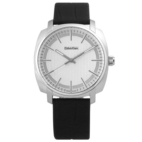 Calvin Klein 卡文克萊 Highline 平行系列金宇彬代言款皮革腕錶 銀x黑 39mm K5M311C6