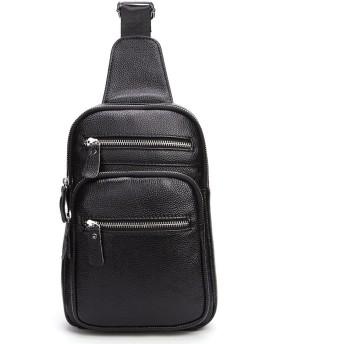 ボディーバッグ メンズレザーチェストバッグ大容量シングルショルダークロスボディバッグ ショッピングアウトドア (Color : Black)