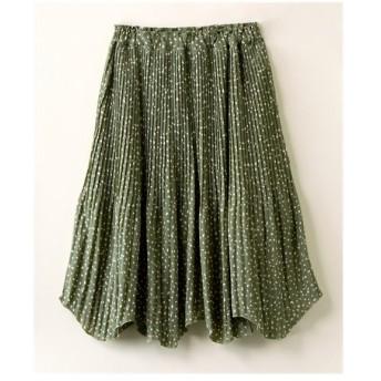 スカート ひざ丈 大きいサイズ レディース デシン 変形ドット 裾 アシメ消し プリーツ ESTACOT LL/3L ニッセン