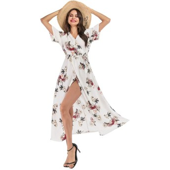 WDSFT 女子ビーチスカート花柄シフォンドレスVネックのセクシーなスリットスカート半袖レースアップビッグスカート2020春の新 (Color : 2, Size : XL)