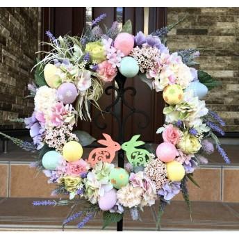 No. wreath-15157 ★イースターリース(春のリース)20-(9) イースターバニー・プレート 48cm・アートフラワー/造花リース/大型リース