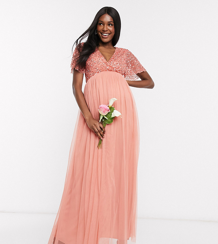 Maya Maternity Bridesmaid wrap front delicate sequin maxi dress with tulle skirt in coral-Orange