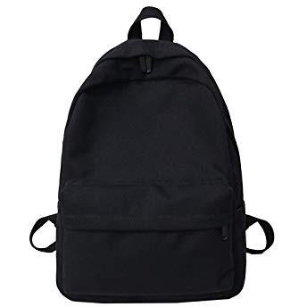 HVTKLN レディースソリッドキャンバスバックパックラージバッグジュニアガールトラベルラップトップバックパックバックパックショルダーバッグ HVTKLN (Color : Black, Size : 30cm11cm40cm)