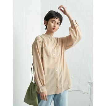【6,000円(税込)以上のお買物で全国送料無料。】シースルースタンドカラーシャツ