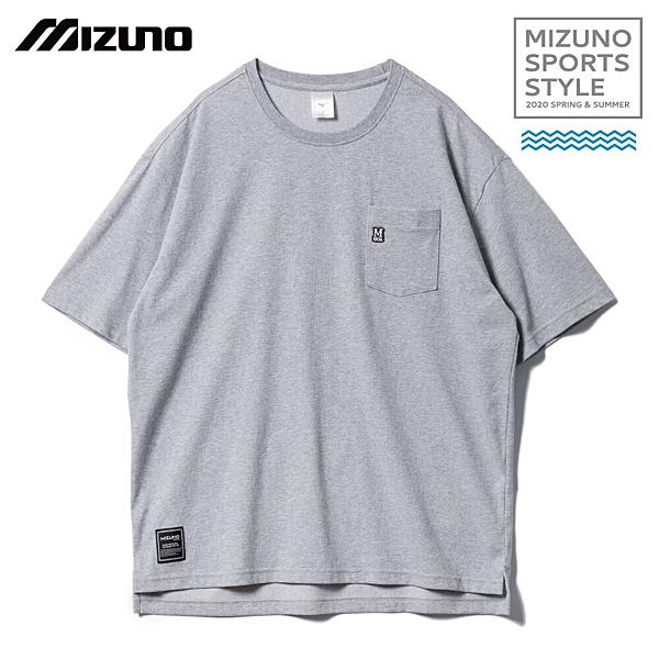 MIZUNO SPORTS STYLE 男裝 短袖 上衣 T恤 休閒 素面 小口袋 灰【運動世界】D2TA000105
