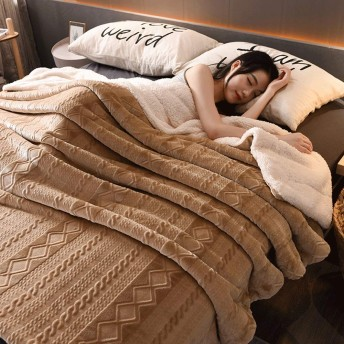IhDFR 毛布二重層フランネル毛布厚いサンゴ毛布高級ソファベッド大柔らかい暖かい毛布 (Color : E, Size : 90130cm)