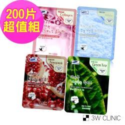 韓國3W CLINIC 膠原撫紋保濕嫩白-100%純棉保濕面膜200片超值組 (膠原、紅石榴、紅蔘、綠茶各50片)