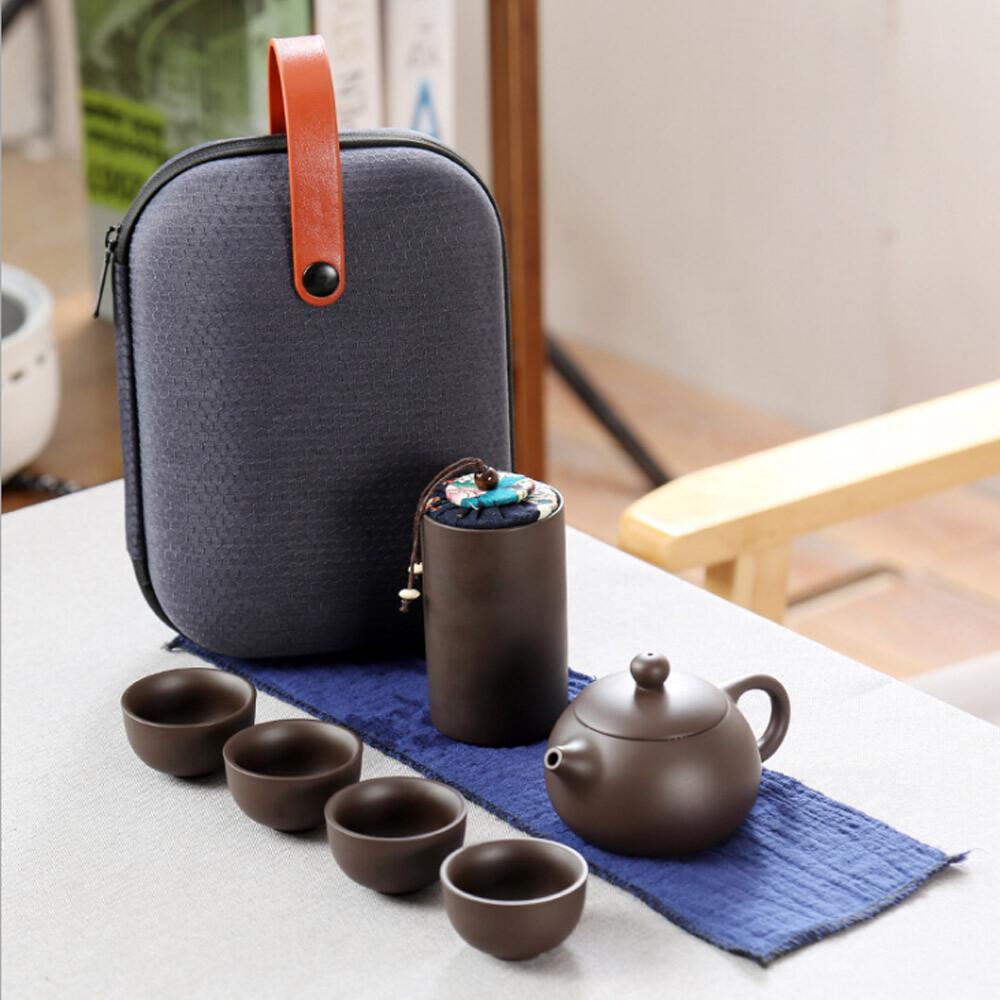 push!茶具旅行茶具便攜包快客杯一壺四杯紫砂功夫旅遊茶壺套裝d211
