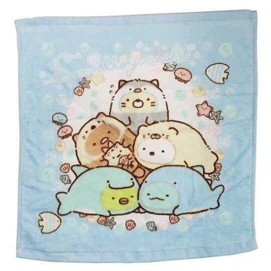 〔小禮堂〕角落生物 純棉割絨方形毛巾《藍白.海底變裝》34x35cm.方巾 4985036-18433