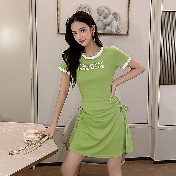 出清288 韓系收腰抽繩撞色修身運動休閒短袖洋裝
