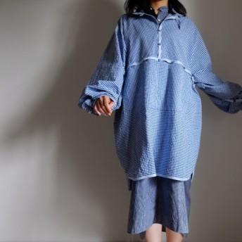 春風 sale 1点のみ・オーバーサイズシャツ/ ギンガムチェック コットン シアサッカー【 BL 】