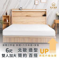 艾拉菈 北歐插座LED燈房間三件組-雙人加大6尺 床墊+床頭+六分加厚床底