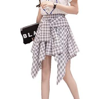 レディース スカート ミディアム 丈 ひざ下 チェック シャツ腰巻風スカート シャツスタイル ショートスカート