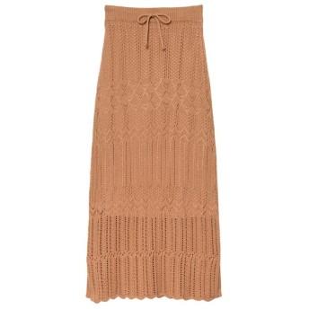 リエディ Re: EDIT [低身長向けSサイズ対応]かぎ編みニットスカート (キャメルオレンジ)