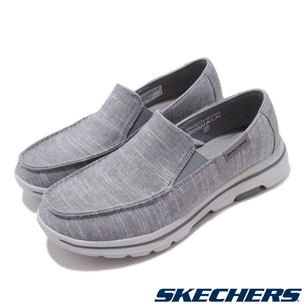 SKECHERS 休閒鞋 Go Walk 5 輕量 健走 男鞋 套入式 好穿脫 緩震 瑜珈鞋墊 灰 黑 [216026GRY]