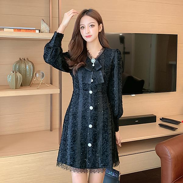 第二件4折 韓國風立體木耳紋蕾絲豎條紋素色名媛長袖洋裝
