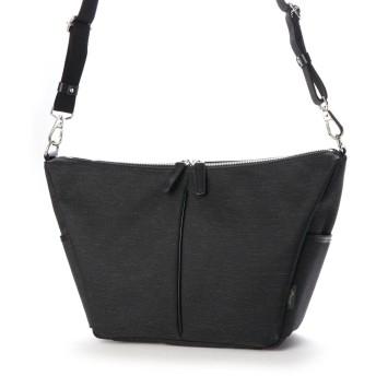 オティアス Otias ナイロン×ポリエステル混紡ツイル+ヌメ革ショルダーバッグ (ブラック)