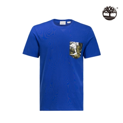 Timberland 男款海洋藍口袋印花UV防護短袖圓領T恤|A1Z1U