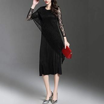 服装やアクセサリー ドレス CZはフォールドレース長袖のドレス浸透軽微 (色 : ブラック, サイズ : One size)