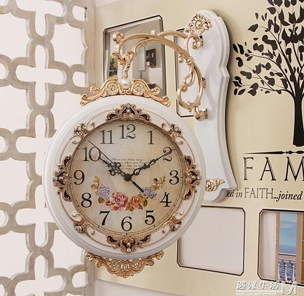 雙面掛鐘客廳時尚靜音歐式掛鐘創意雙面鐘錶兩面壁鐘石英鐘 大號