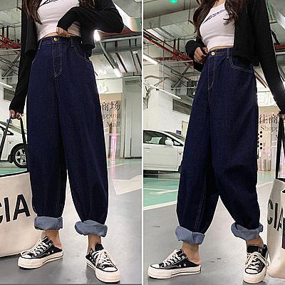 牛仔褲 適合胯大腿粗牛仔褲女直筒寬松高腰小個子梨型身材大碼直筒闊腿褲F1F051衣時尚