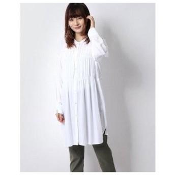 コムサイズム COMME CA ISM シャーリング ロングシャツ (ホワイト)
