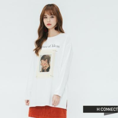 H:CONNECT 韓國品牌 女裝 -圖像印製長袖T-shirt-白(快)