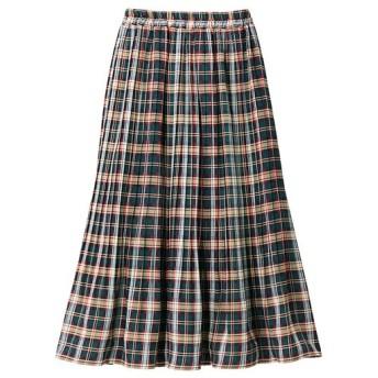 60%OFF【レディース大きいサイズ】 チェックプリーツスカート - セシール ■カラー:チェックA(ブルー系) ■サイズ:L,LL,3L,4L
