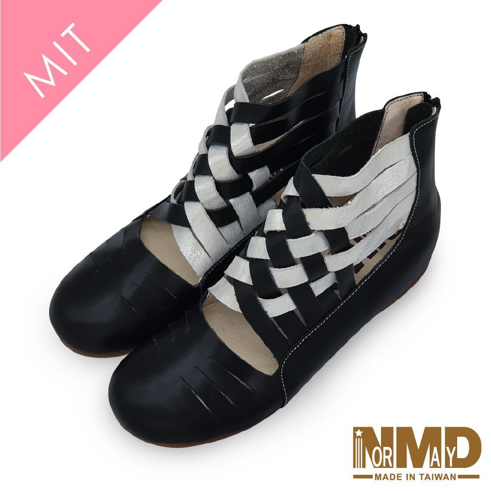 【Normady 諾曼地】浪漫舞孃專利磁石內增高足弓支撐真皮編織娃娃鞋-MIT手工鞋(經典黑)