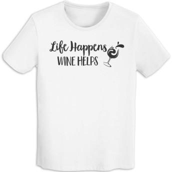 ラッキードア Tシャツ 半袖 Life Happens Wine Helps 上着 メンズ 夏服 White L