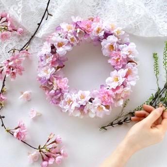 23cm*八重桜のリース*アーティフィシャルフラワー*お祝い*ギフト