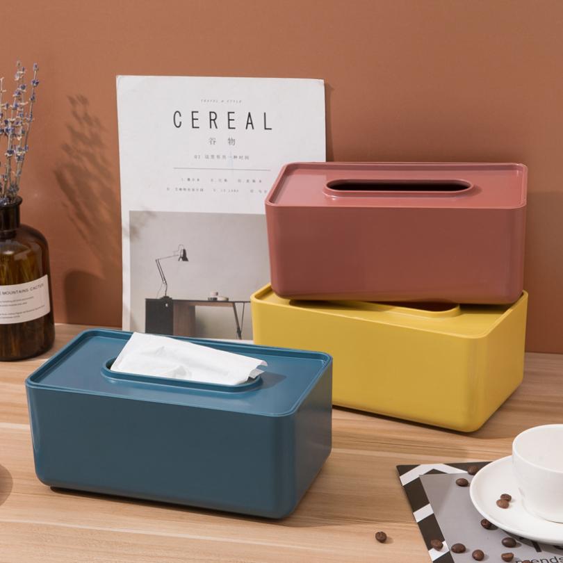 北歐簡約風 糖果色面紙盒 家用客廳茶几面巾紙盒 桌面抽紙盒收納盒【RS1067】