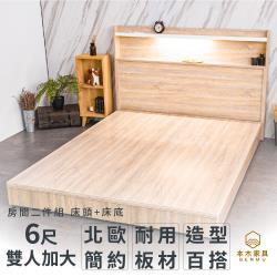 艾拉菈 北歐插座LED燈房間二件組-雙人加大6尺 床頭+床底