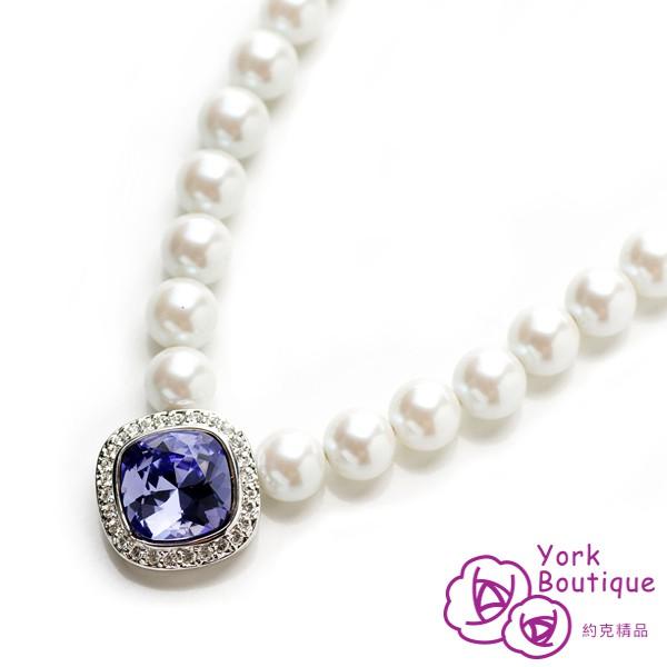 【約克精品】優雅貴婦施華洛元素晶鑽包銠白金項鍊(SGS認證)