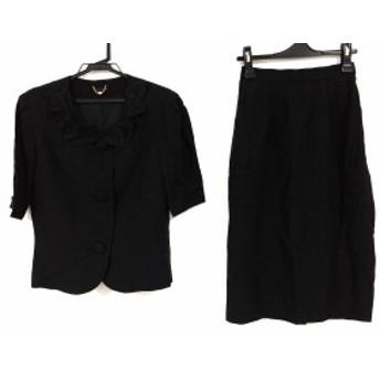ユキトリイ YUKITORII スカートスーツ サイズ7 S レディース 黒 フラワー/肩パッド【中古】20200204