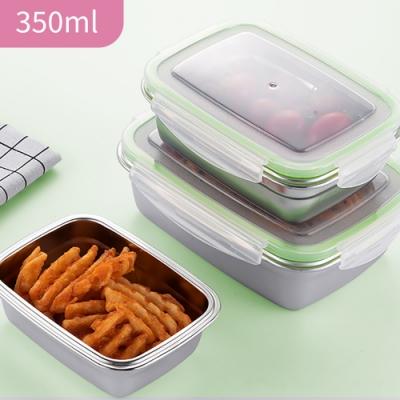 韓式超好扣304不鏽鋼密封保鮮盒-350ml