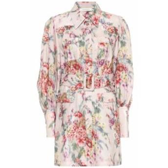 ジマーマン Zimmermann レディース ワンピース ワンピース・ドレス Wavelength floral linen minidress Pink Scarlet Floral
