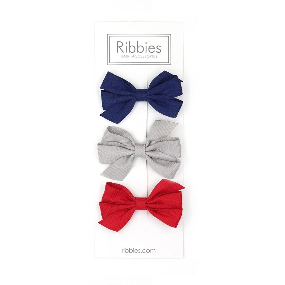 英國Ribbies 三層中蝴蝶結3入組-紅藍灰系列