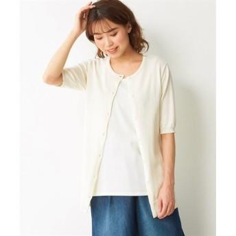 【大きいサイズ】 綿100%クルーネック5分袖ニットカーディガン(UVカット)  plus size cardigan, テレワーク, 在宅, リモート